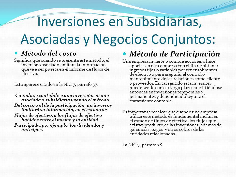 Inversiones en Subsidiarias, Asociadas y Negocios Conjuntos: Método del costo Significa que cuando se presenta este método, el inversor o asociado limitara la información que va a ser puesta en el informe de flujos de efectivo.