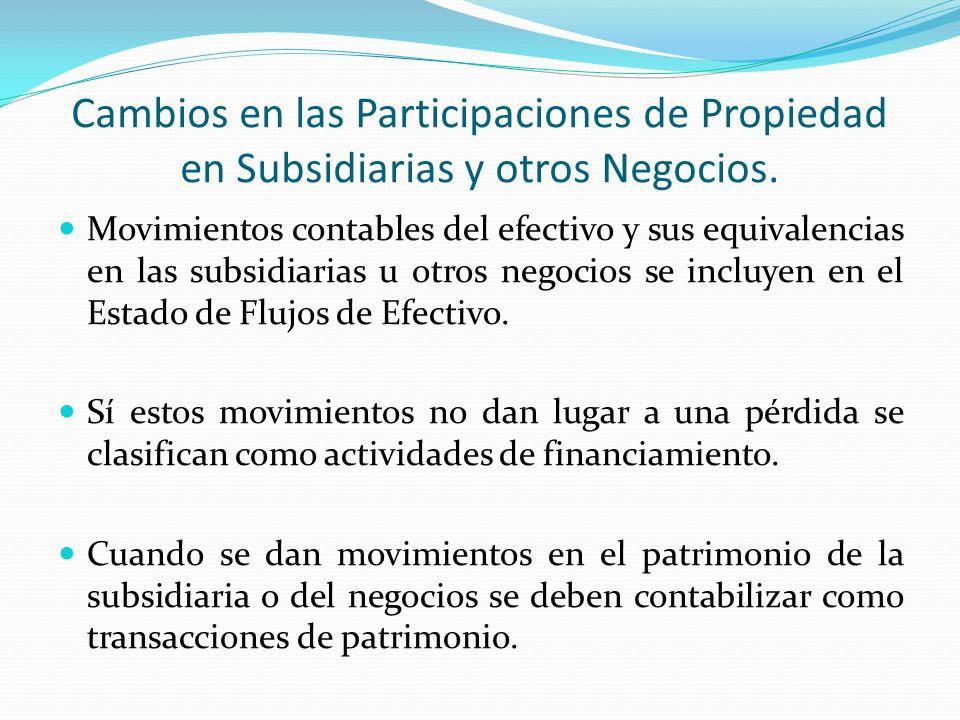 Cambios en las Participaciones de Propiedad en Subsidiarias y otros Negocios.