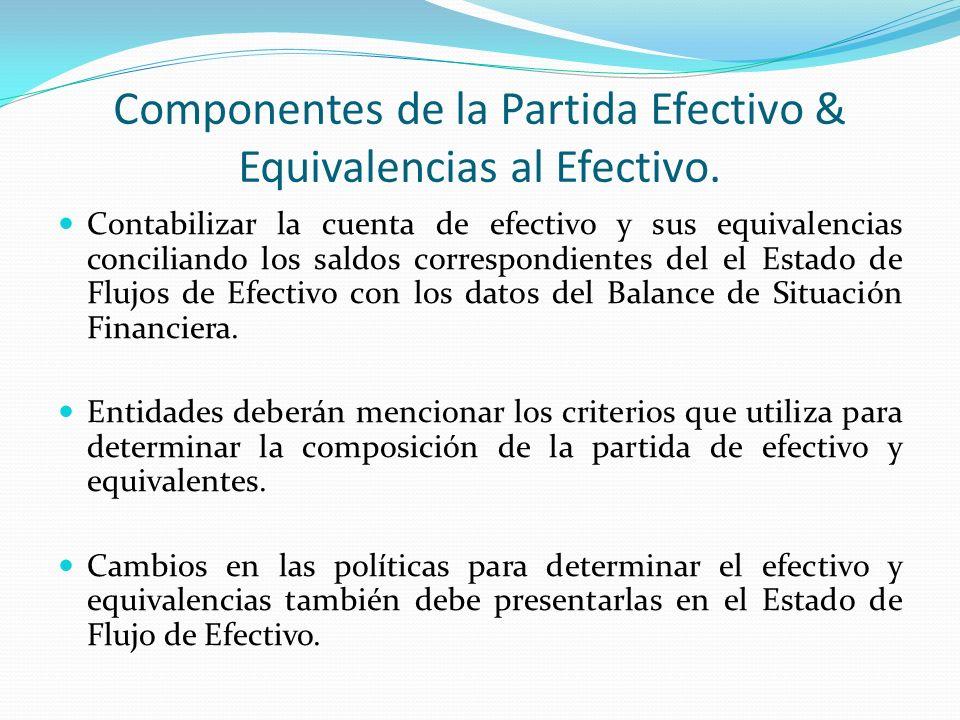 Componentes de la Partida Efectivo & Equivalencias al Efectivo.