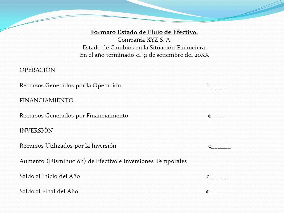 Formato Estado de Flujo de Efectivo. Compañía XYZ S.