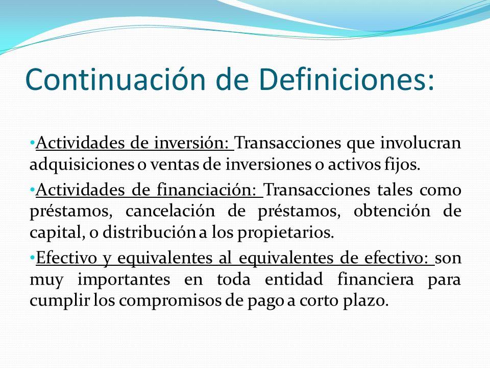 Continuación de Definiciones: Actividades de inversión: Transacciones que involucran adquisiciones o ventas de inversiones o activos fijos.