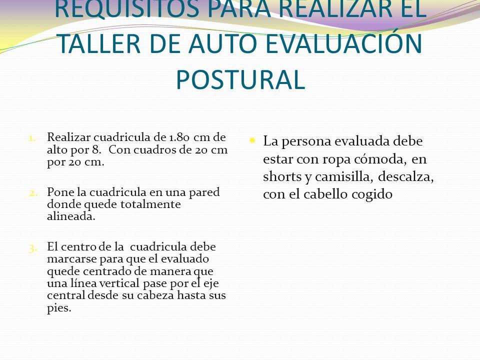 REQUISITOS PARA REALIZAR EL TALLER DE AUTO EVALUACIÓN POSTURAL 1.