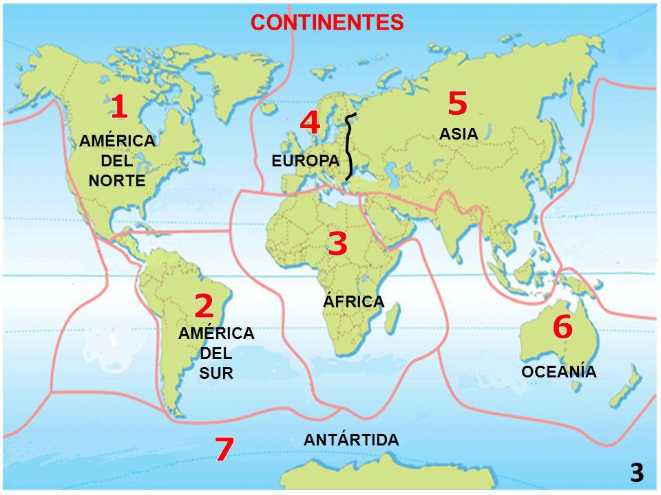 3 AMÉRICA DEL NORTE ASIA ÁFRICA OCEANÍA ANTÁRTIDA CONTINENTES AMÉRICA DEL SUR EUROPA