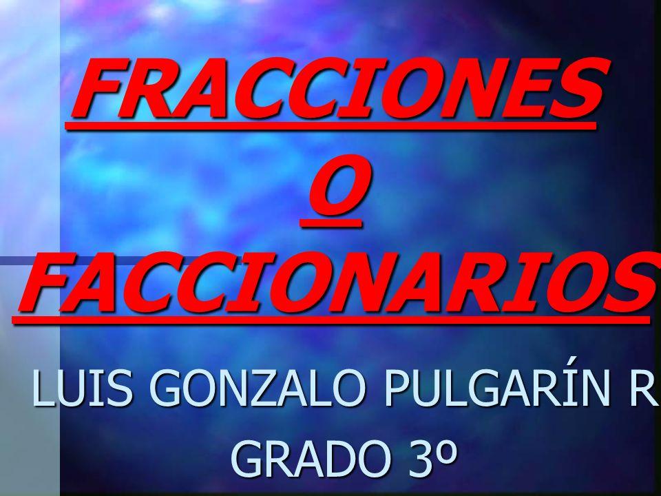 FRACCIONES O FACCIONARIOS LUIS GONZALO PULGARÍN R GRADO 3º