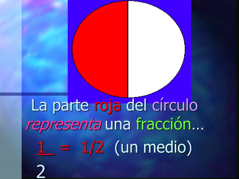 La parte roja del círculo representa una fracción… 1_ = 1/2 (un medio) 2