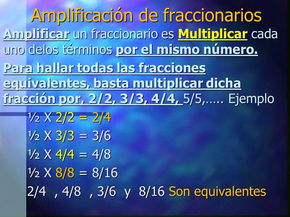 Amplificación de fraccionarios Amplificar un fraccionario es Multiplicar cada uno delos términos por el mismo número.
