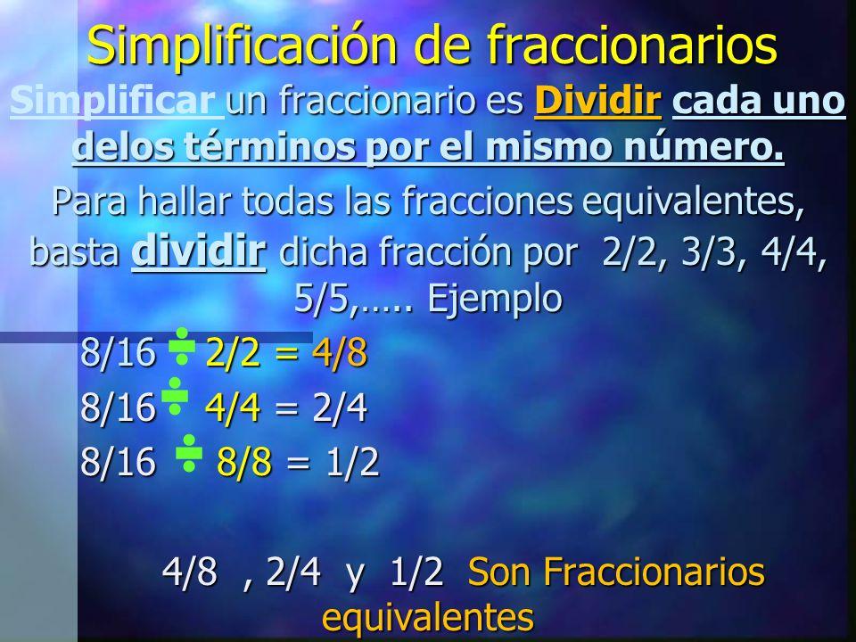 Simplificación de fraccionarios un fraccionario es Dividir cada uno delos términos por el mismo número.