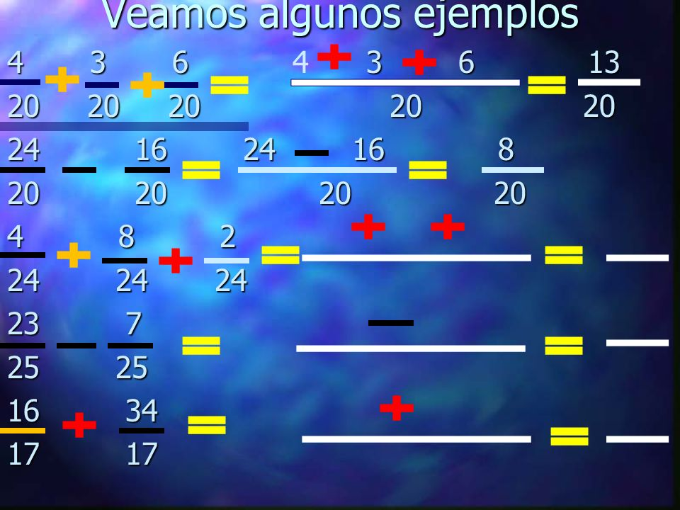 Veamos algunos ejemplos 4 3 6 3 6 13 4 3 6 4 3 6 13 20 20 20 20 20 24 16 24 16 8 20 20 20 20 4 8 2 24 24 24 23 7 25 25 16 34 17 17