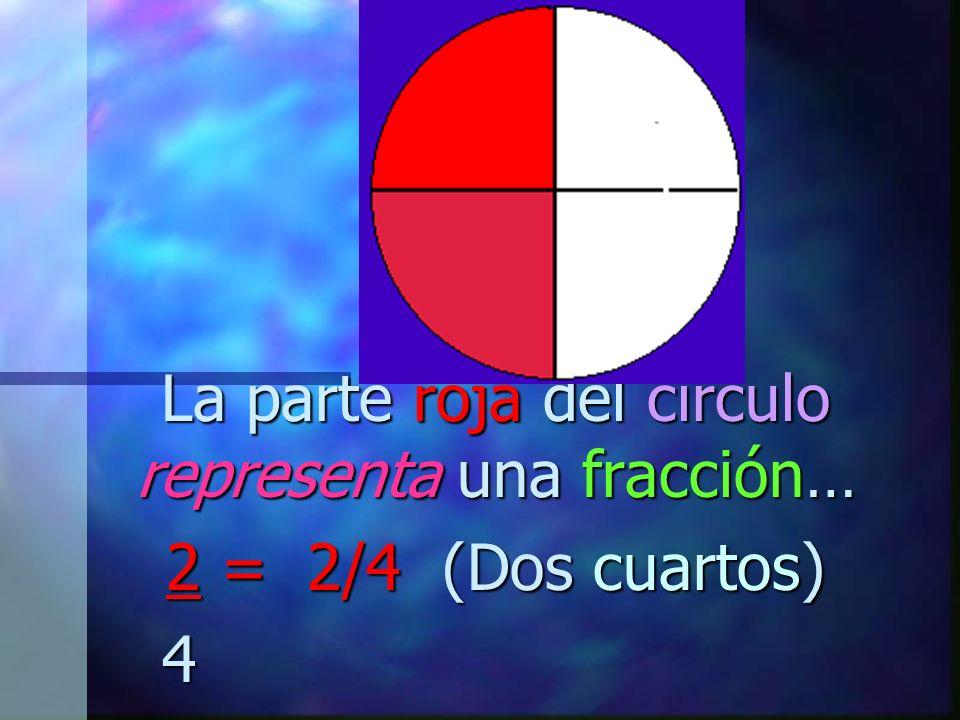 La parte roja del círculo representa una fracción… 2 = 2/4 (Dos cuartos) 4