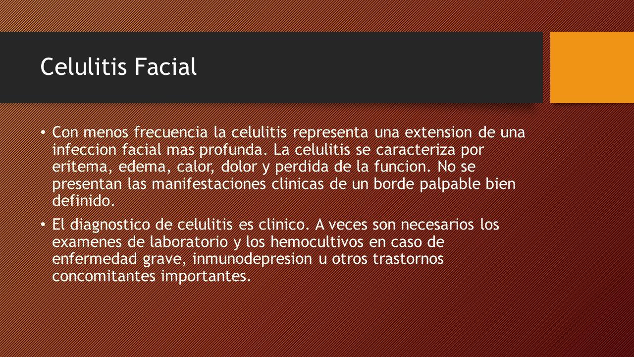 Celulitis Facial Se puede utilizar la ecografia y la tomografia computarizada (CT) para valorar un absceso.