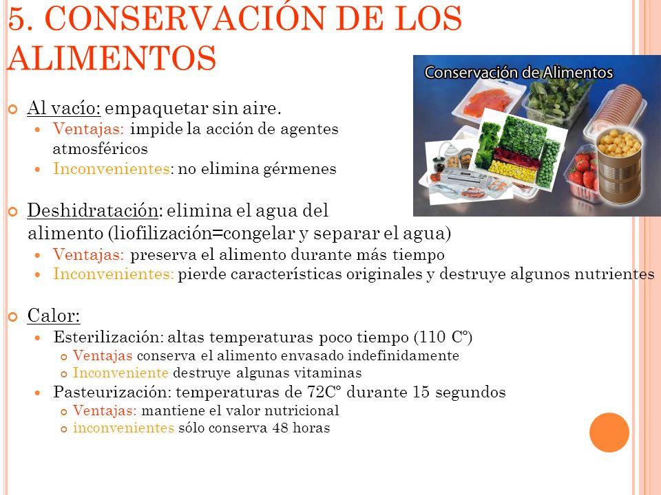 5. CONSERVACIÓN DE LOS ALIMENTOS Al vacío: empaquetar sin aire. Ventajas: impide la acción de agentes atmosféricos Inconvenientes: no elimina gérmenes