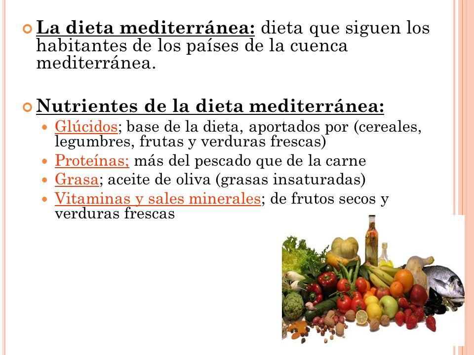 La dieta mediterránea: dieta que siguen los habitantes de los países de la cuenca mediterránea. Nutrientes de la dieta mediterránea: Glúcidos; base de