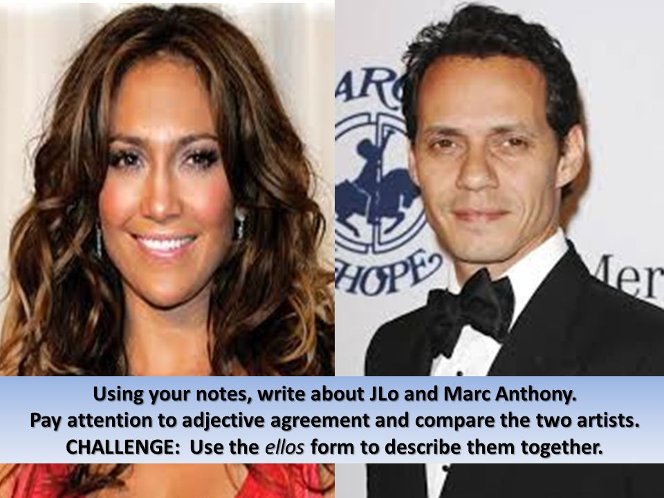 Using your notes, write about JLo and Marc Anthony.