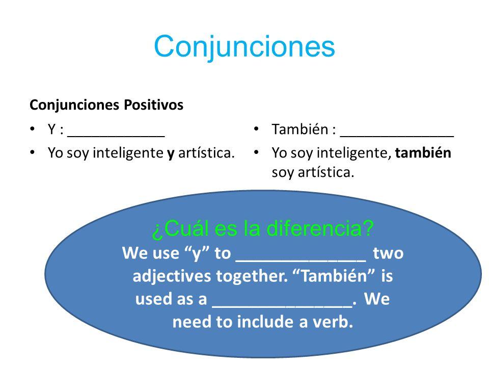 Conjunciones Conjunciones Positivos Y : ____________ Yo soy inteligente y artística.