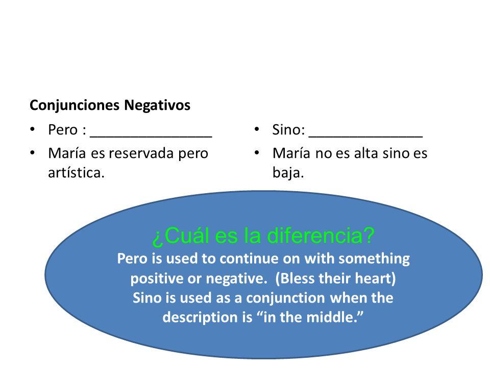 Conjunciones Negativos Pero : _______________ María es reservada pero artística.