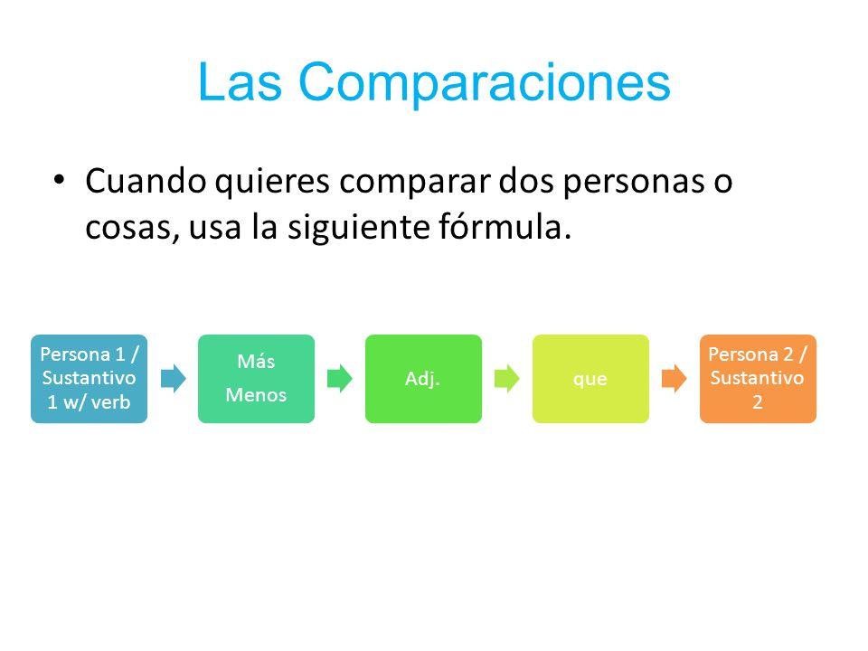 Las Comparaciones Cuando quieres comparar dos personas o cosas, usa la siguiente fórmula.