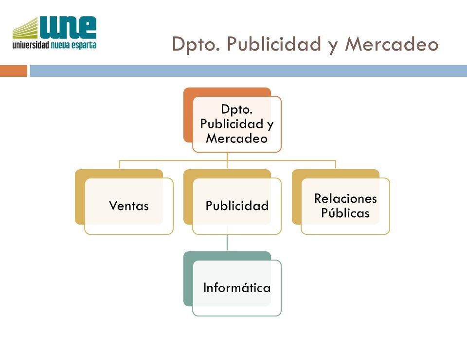 Dpto. Publicidad y Mercadeo VentasPublicidadInformática Relaciones Públicas