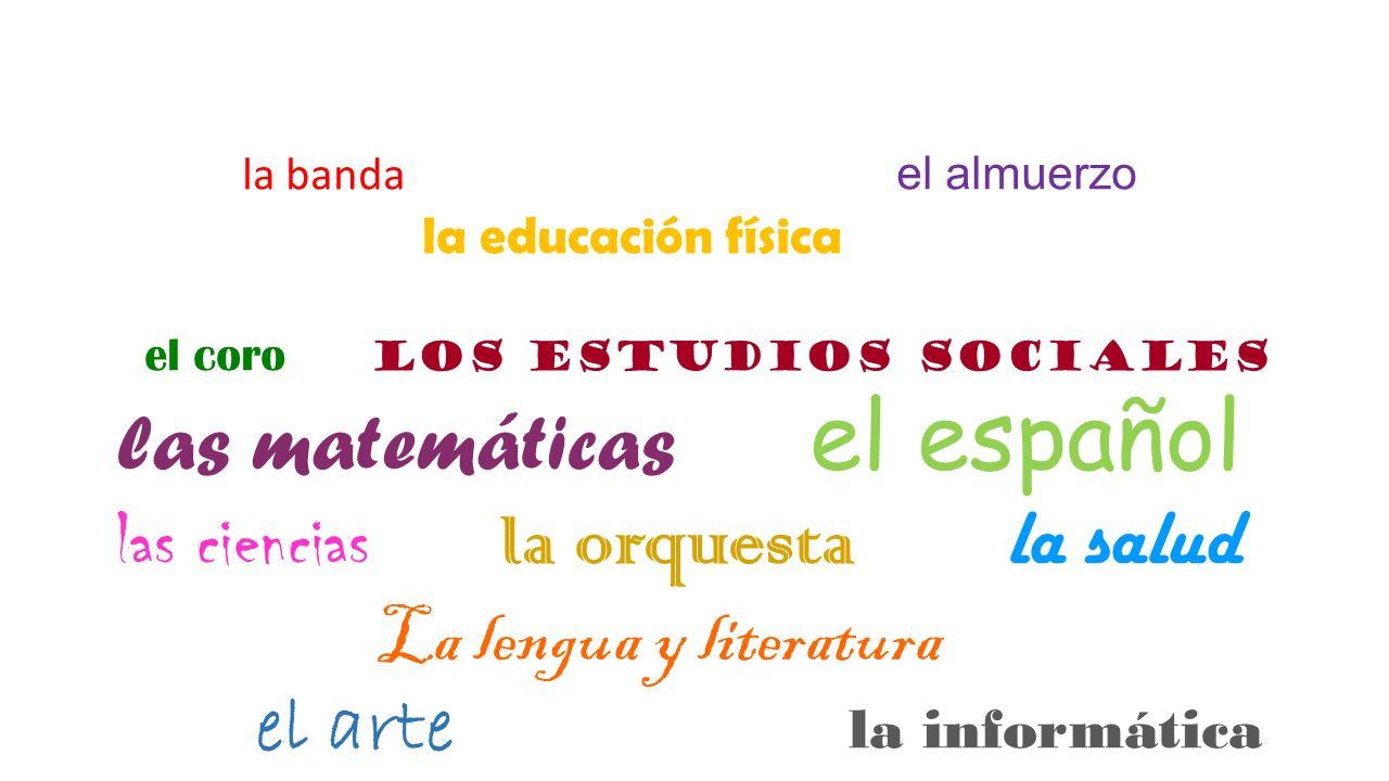 la banda el almuerzo la educación física el coro los estudios sociales las matemáticas el español las ciencias la orquesta la salud La lengua y litera