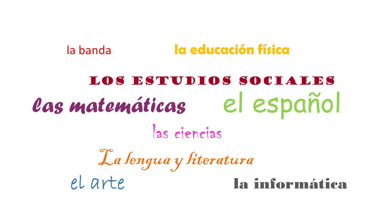 la banda la educación física los estudios sociales las matemáticas el español las ciencias La lengua y literatura el arte la informática