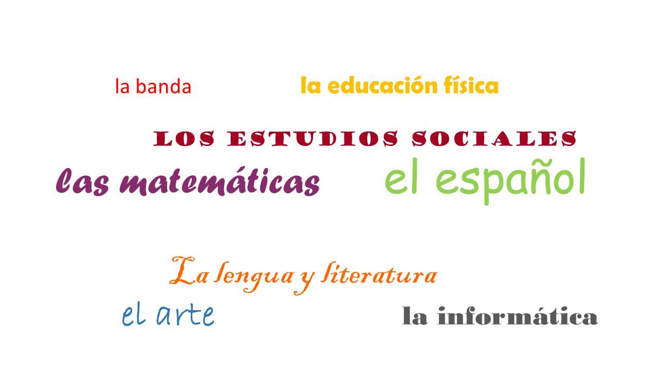 la banda la educación física los estudios sociales las matemáticas el español La lengua y literatura el arte la informática