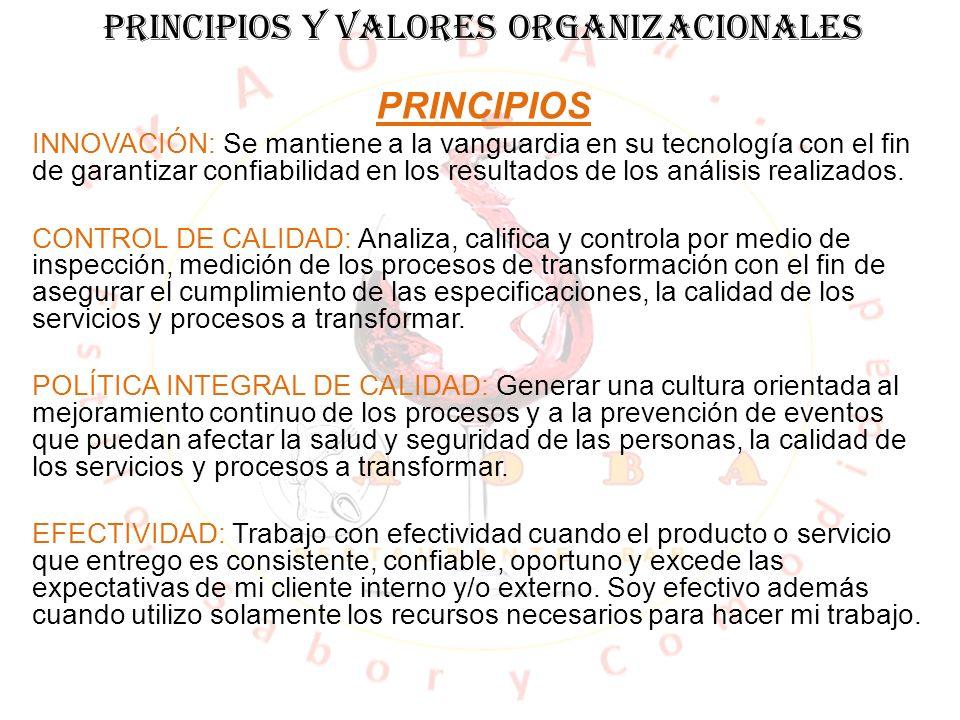 PRINCIPIOS Y VALORES ORGANIZACIONALES PRINCIPIOS INNOVACIÓN: Se mantiene a la vanguardia en su tecnología con el fin de garantizar confiabilidad en lo