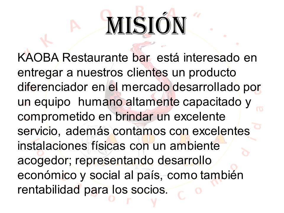 VISIÓN En el año 2018 KAOBA Restaurante bar será reconocido en la ciudad de Medellín por la innovación convirtiéndonos en líderes en materia de servicio y calidad.