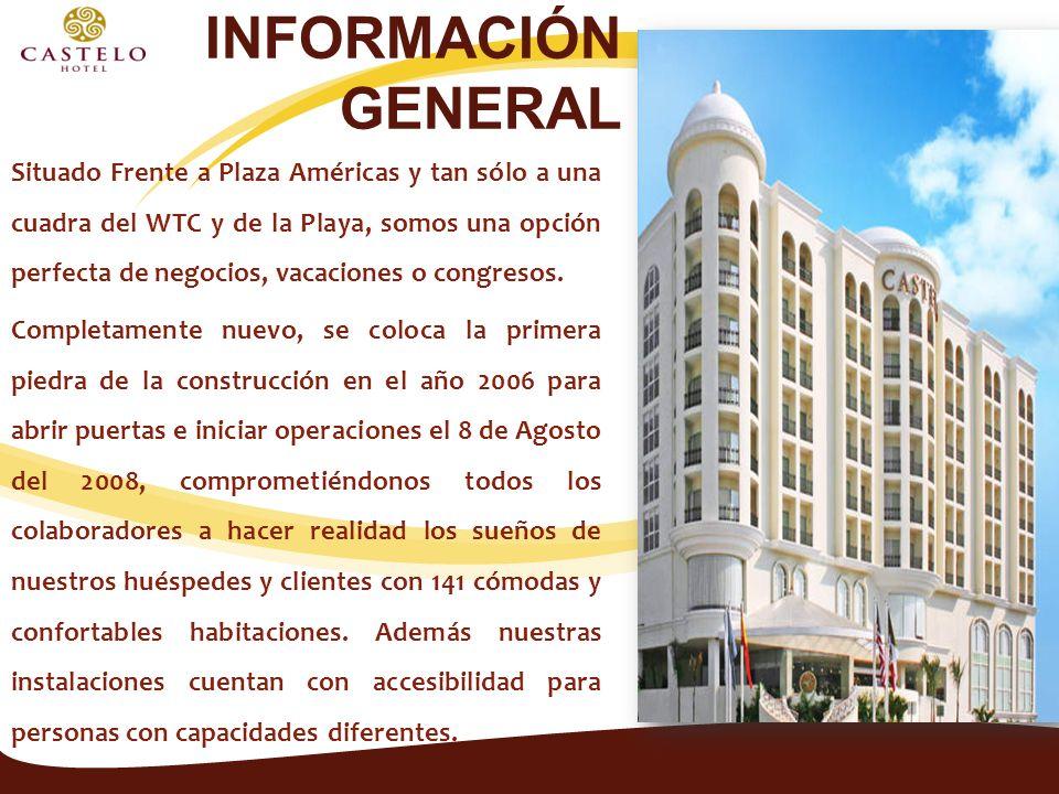 INFORMACIÓN GENERAL Situado Frente a Plaza Américas y tan sólo a una cuadra del WTC y de la Playa, somos una opción perfecta de negocios, vacaciones o congresos.