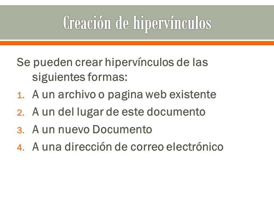 Se pueden crear hipervínculos de las siguientes formas: 1.