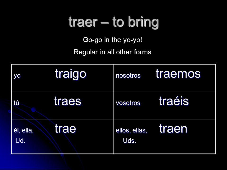Los verbos irregulares: venir, pedir y traer. venir – to come yo ...