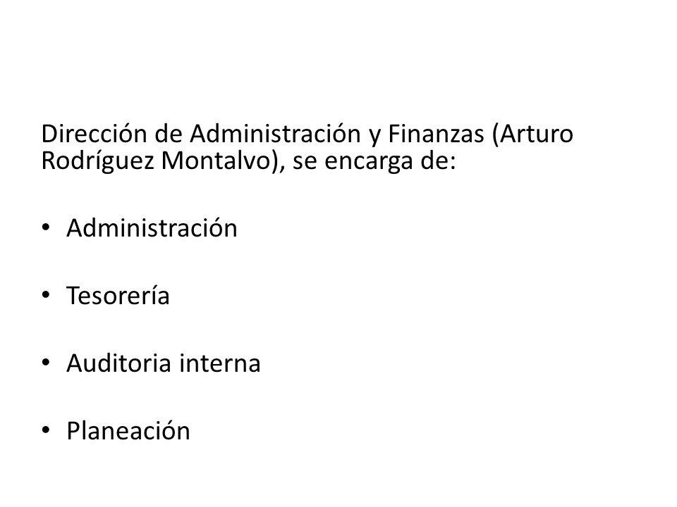Dirección de Administración y Finanzas (Arturo Rodríguez Montalvo), se encarga de: Administración Tesorería Auditoria interna Planeación