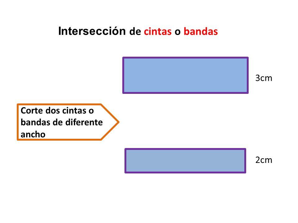 Superpone las dos bandas perpendicularmente Los cuatro puntos de intersección son los vértices 2cm 3cm A DC B