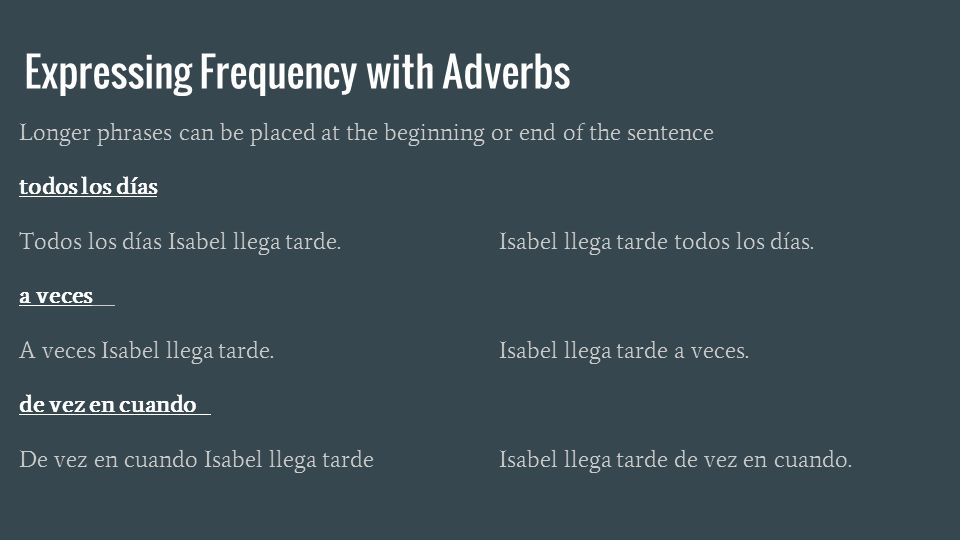 Expressing Frequency with Adverbs Longer phrases can be placed at the beginning or end of the sentence todos los días Todos los días Isabel llega tarde.