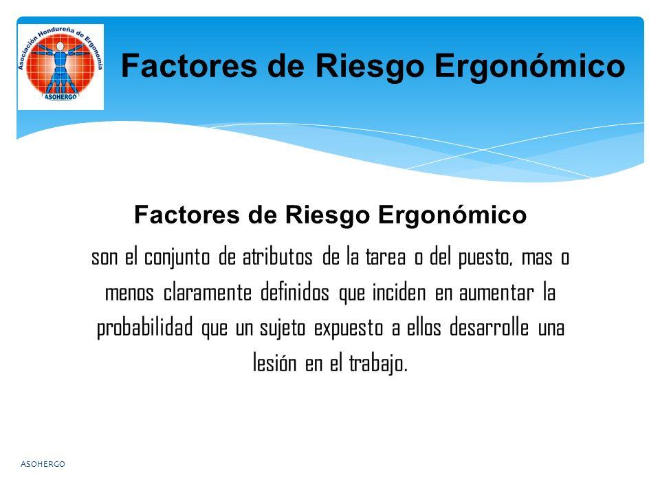 Factores de Riesgo Ergonómico son el conjunto de atributos de la tarea o del puesto, mas o menos claramente definidos que inciden en aumentar la probabilidad que un sujeto expuesto a ellos desarrolle una lesión en el trabajo.