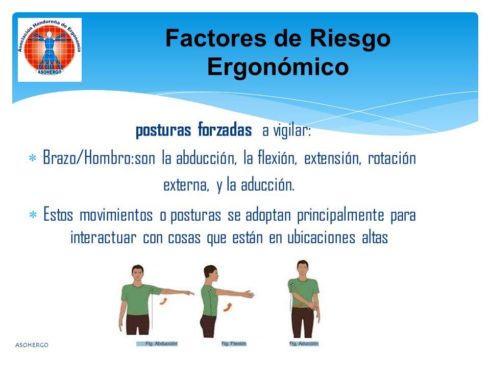posturas forzadas a vigilar:  Brazo/Hombro:son la abducción, la flexión, extensión, rotación externa, y la aducción.