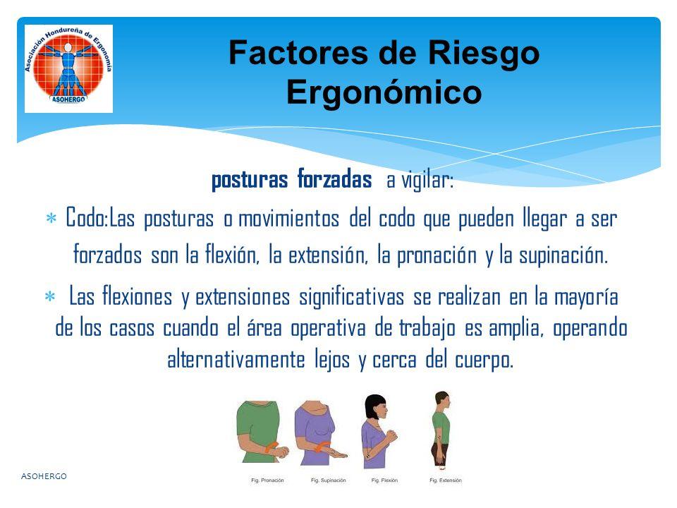 posturas forzadas a vigilar:  Codo:Las posturas o movimientos del codo que pueden llegar a ser forzados son la flexión, la extensión, la pronación y la supinación.