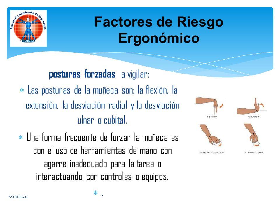 posturas forzadas a vigilar:  Las posturas de la muñeca son: la flexión, la extensión, la desviación radial y la desviación ulnar o cubital.