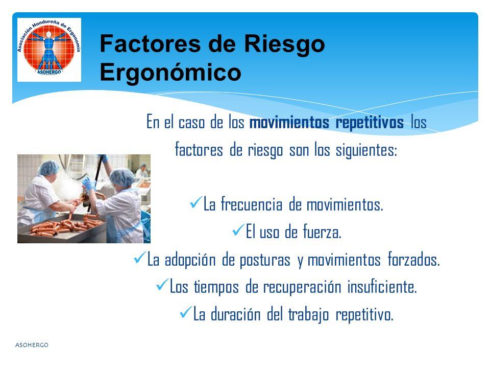 En el caso de los movimientos repetitivos los factores de riesgo son los siguientes: La frecuencia de movimientos.