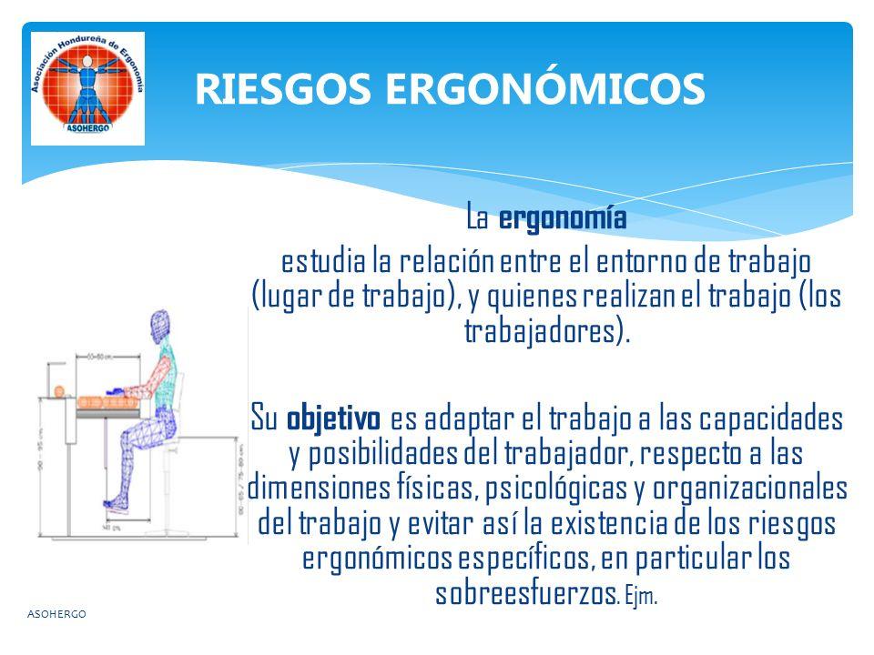 La ergonomía estudia la relación entre el entorno de trabajo (lugar de trabajo), y quienes realizan el trabajo (los trabajadores).