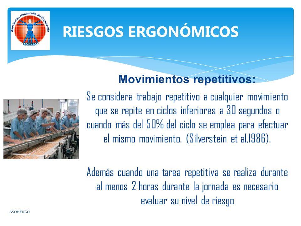 Movimientos repetitivos: Se considera trabajo repetitivo a cualquier movimiento que se repite en ciclos inferiores a 30 segundos o cuando más del 50% del ciclo se emplea para efectuar el mismo movimiento.