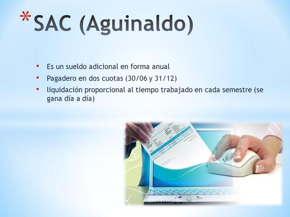 Es un sueldo adicional en forma anual Pagadero en dos cuotas (30/06 y 31/12) liquidación proporcional al tiempo trabajado en cada semestre (se gana día a día)