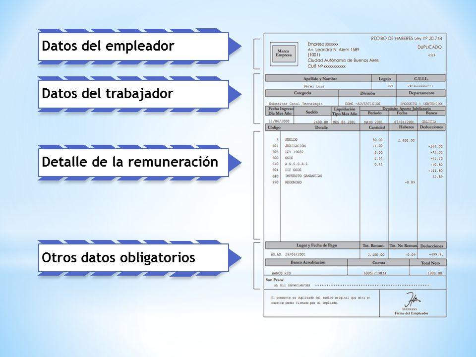Datos del empleador Datos del trabajador Detalle de la remuneración Otros datos obligatorios