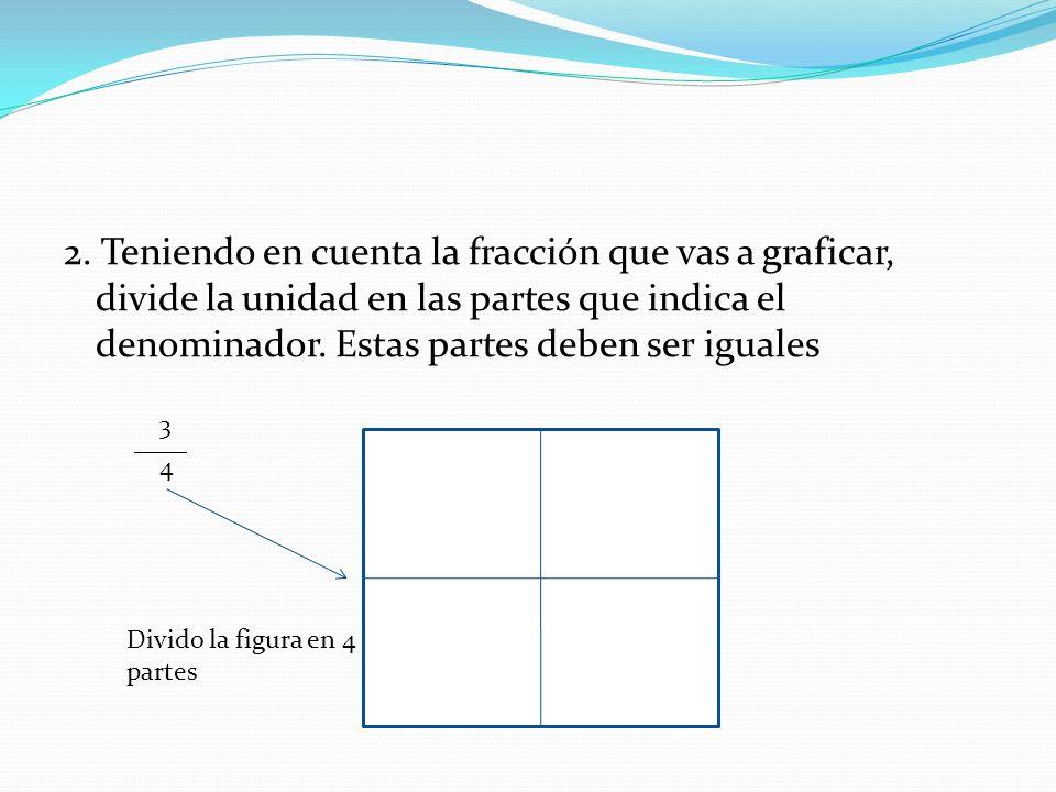 2. Teniendo en cuenta la fracción que vas a graficar, divide la unidad en las partes que indica el denominador. Estas partes deben ser iguales 3 ____