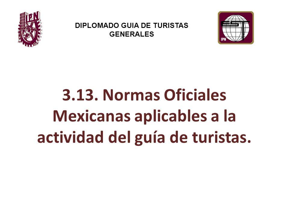 3.13. Normas Oficiales Mexicanas aplicables a la actividad del guía de turistas.