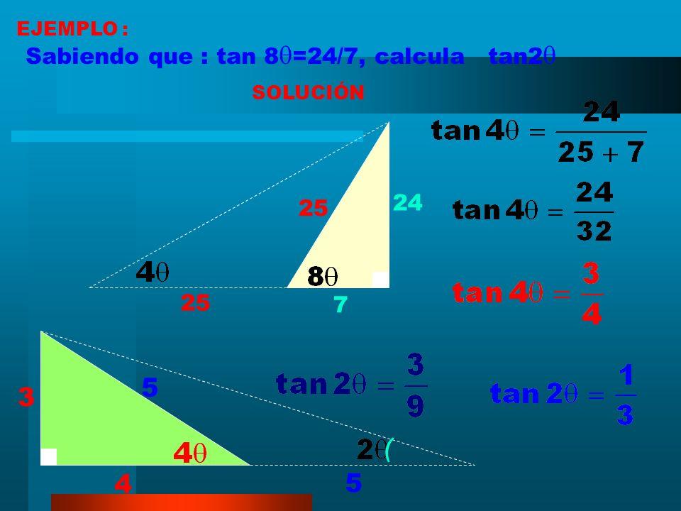 RAZONES TRIGONOMÉTRICAS DE LA MITAD DE UN ÁNGULO AGUDO (método gráfico) a bc c ) ) ( ) +