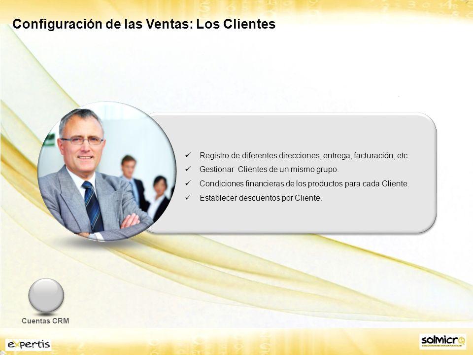 Configuración de las Ventas: Los Clientes Registro de diferentes direcciones, entrega, facturación, etc.