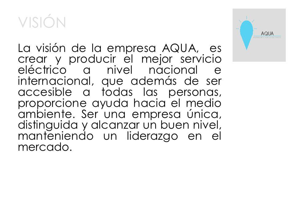 VISIÓN La visión de la empresa AQUA, es crear y producir el mejor servicio eléctrico a nivel nacional e internacional, que además de ser accesible a todas las personas, proporcione ayuda hacia el medio ambiente.