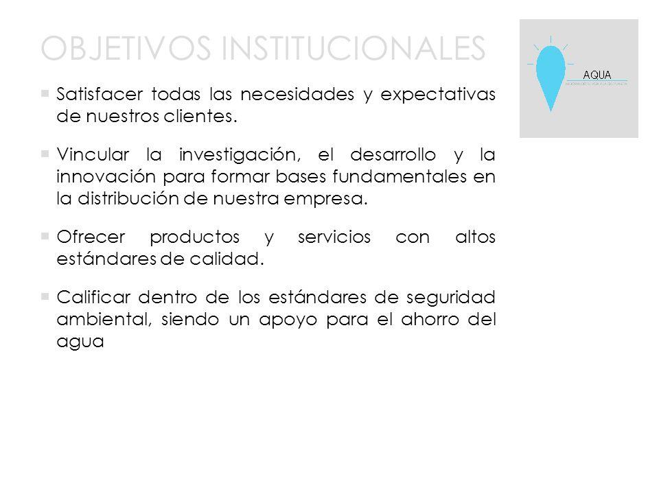 OBJETIVOS INSTITUCIONALES  Satisfacer todas las necesidades y expectativas de nuestros clientes.