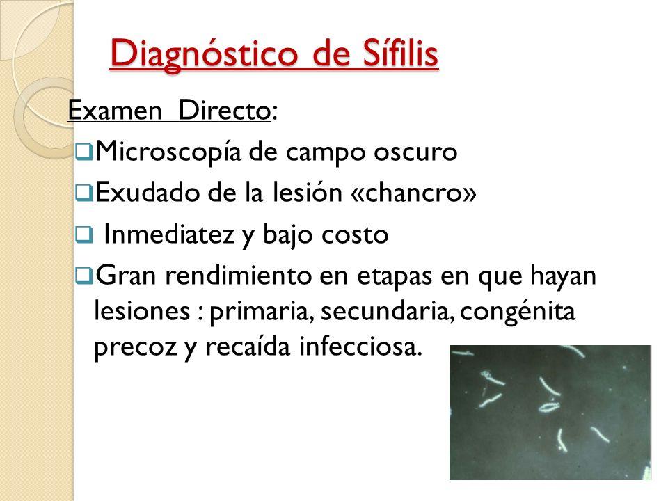 diagnostico sifilis: