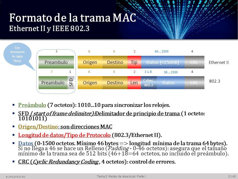 2.I.1 © UPM-ETSISI-RC Tema 2: Redes de área local. Parte I Redes de ...