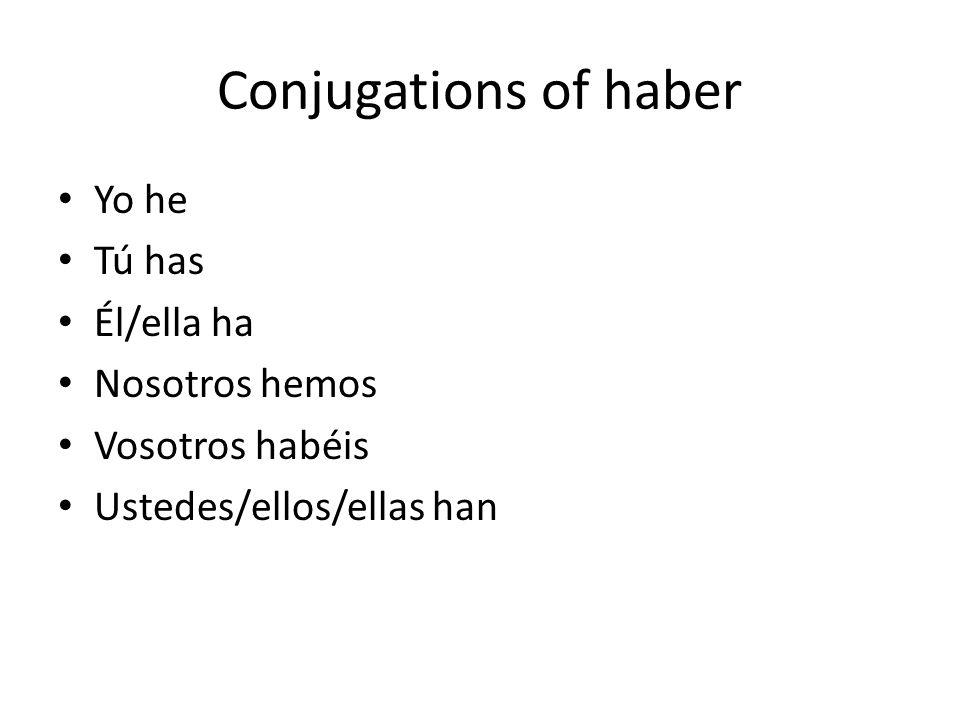 Conjugations of haber Yo he Tú has Él/ella ha Nosotros hemos Vosotros habéis Ustedes/ellos/ellas han
